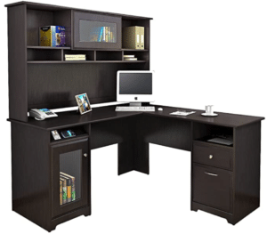 Bush Furniture Cabot L Shaped Desk with Hutch in Espresso Oak