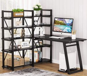 "Tribesigns 55"" Large Computer Desk with 10 Storage Shelves"