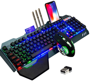 Wireless Gaming Keyboard and Mouse,Rainbow Backlit Rechargeable Keyboard Mouse with 3800mAh Battery