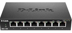 D-Link Ethernet Switch, 8 Port Gigabit Unmanaged Metal Fanless Desktop or Wall Mount Design (DGS-108)